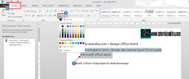 Mengatur Warna huruf pada microsoft office word