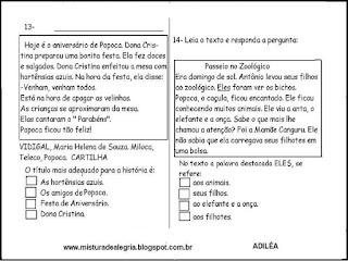Simulado avaliação de português 3º ano