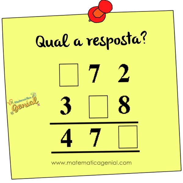 Qual a resposta? Calcule e complete as lacunas.