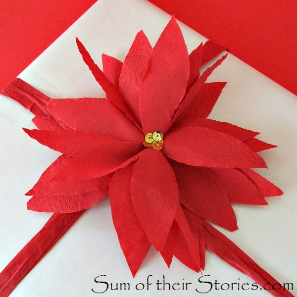 poinsettias made from paper napkins