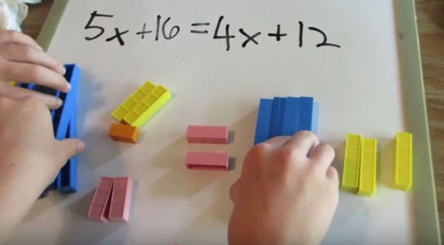 solving equations, manipulatives,