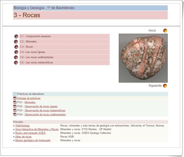 Unidad 3 de Biología y Geología de 1º de Bachillerato Rocas