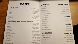 a copy of the cast lists for The Giver and Gathering Blue performed by Franklin High School