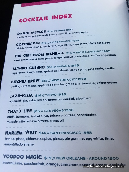 cocktail menu at the Black Cat in San Francisco, California