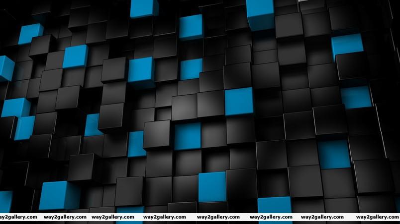Black amp blue cubes wallpaper