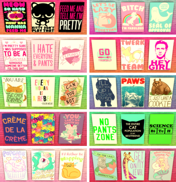 My Sims 4 Blog: Funny Canvas Wall Art by SunshineAndRosesCC