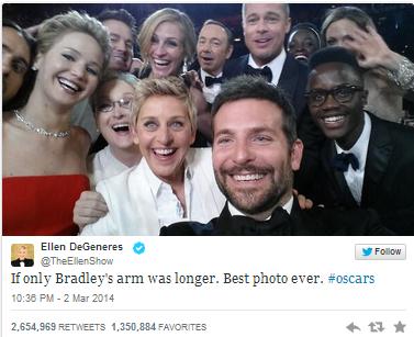 La presentadora de la gala de los Oscars logra más de 2,3 millones de retweets, marcando un nuevo récord. Lo bueno de presentar la gala de los Oscars es que la exposición que te da un programa con millones de espectadores es prácticamente única. La presentadora Ellen DeGeneres ha logrado llevar una gala que no ha dado muchas sorpresas, pero que nos ha dejado grandes momentos, en tweets. Hasta el momento, más de 2,3 millones de cuentas en Twitter han 'retwitteado' esta foto con doce estrellas del cine, convirtiéndose en el tweetcon más retweets de la historia de la red