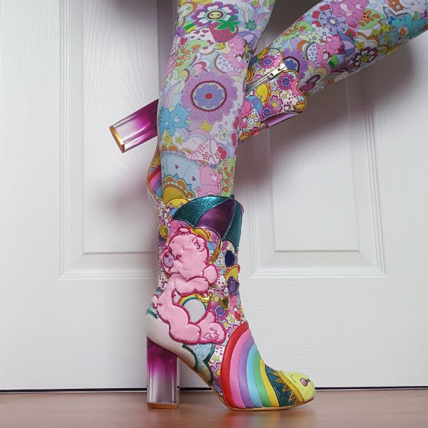 wearing care bear calf length boots with printed care bears tights