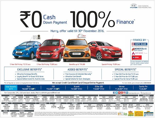 Zero down payment and 100% on road funding on Hyundai cars | November 2016 discount offers