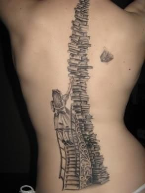 Amazing Book Tattoo on Back