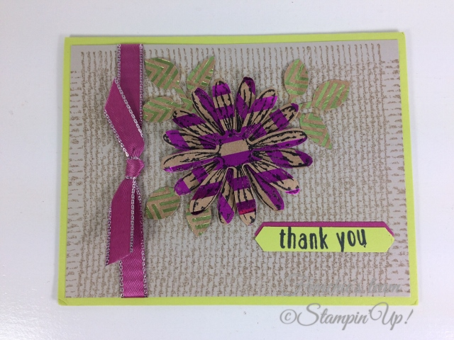 Frenchie' Team, Daisy Punch, Burlap, Stampin'Up!, Foil Frenzy Designer paper,