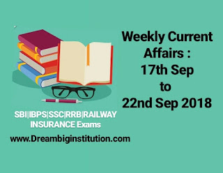 Weekly Current Affairs:17th to 22nd Sep 2018 - Dream Big Institution
