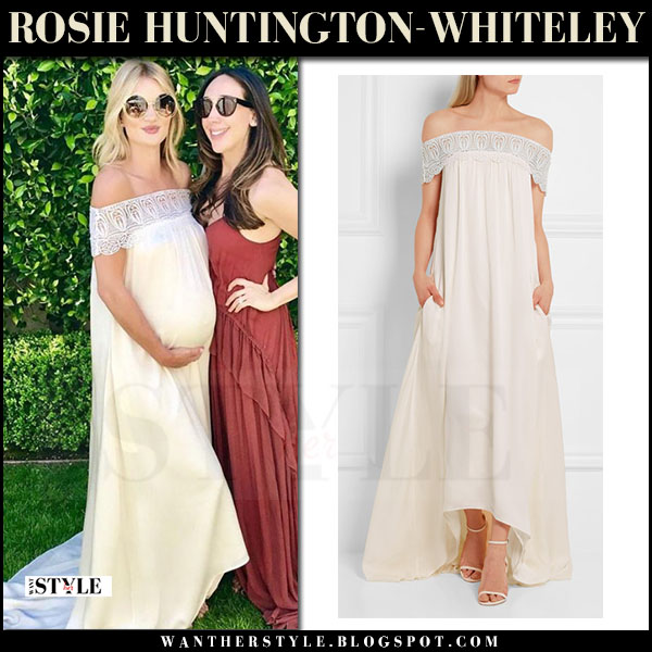 Rosie Huntington-Whiteley in cream lace trimmed off shoulder dress chloe bardot what she wore may 20 2017 baby bump style