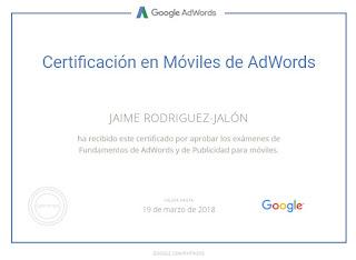 Jaime Rodriguez-Jalón Certificación de Publicidad para Móviles de Google AdWords