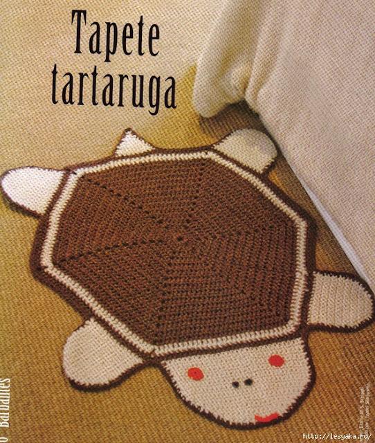 tapete tartaruga em crochê de barbante com gráfico