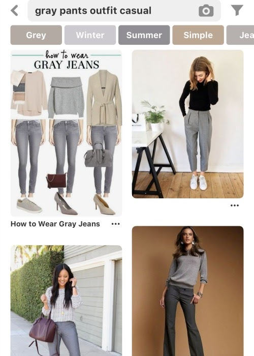 How to style clothes for moms with Pinterest - gray pants outfits