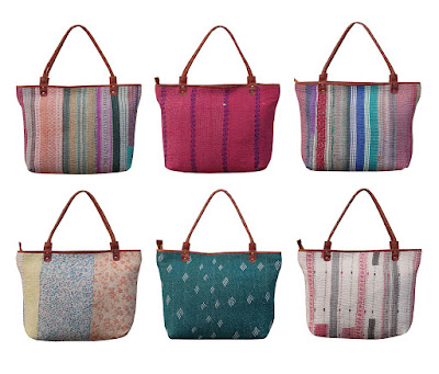 Wholesale Indian Vintage Sari Kantha Tote Bag Handmade Kantha Hand Bag