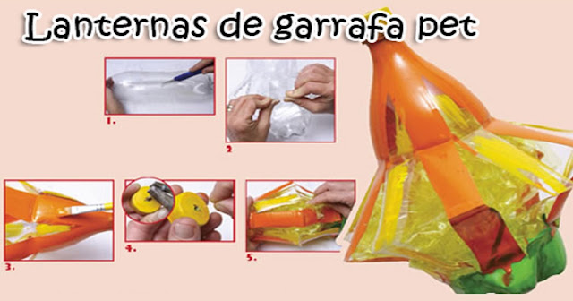 tutorial de como fazer Lanternas de garrafa pet para festas juninas, passo a passo com materiais reciclados.