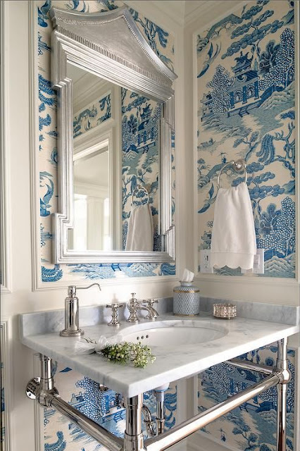 bathroom with blue and white wallpaper - chinoiserie chic