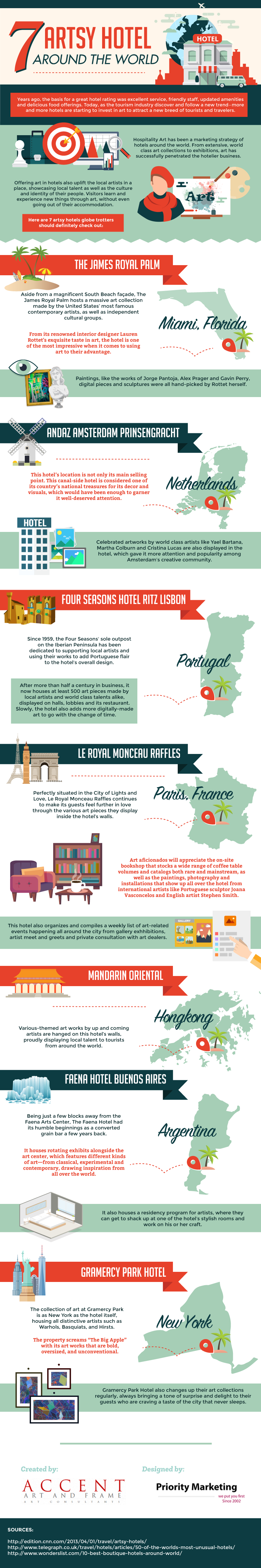 7 Artsy Hotels Around The World #infographic