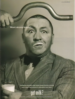 Curly Three Stooges milk ad