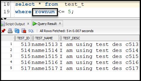 SQL ROWNUM Example