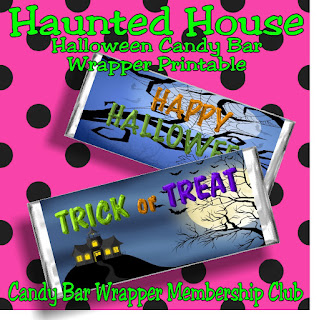 Wish all your loved ones and those cute little Trick or Treaters a Happy Halloween with this Haunted House candy bar wrapper printable.  It's our weekly addition to our Candy Bar Wrapper membership club.  Which is 50% off until this weekend, so be sure to join the club today and be the best card giver this holiday season.