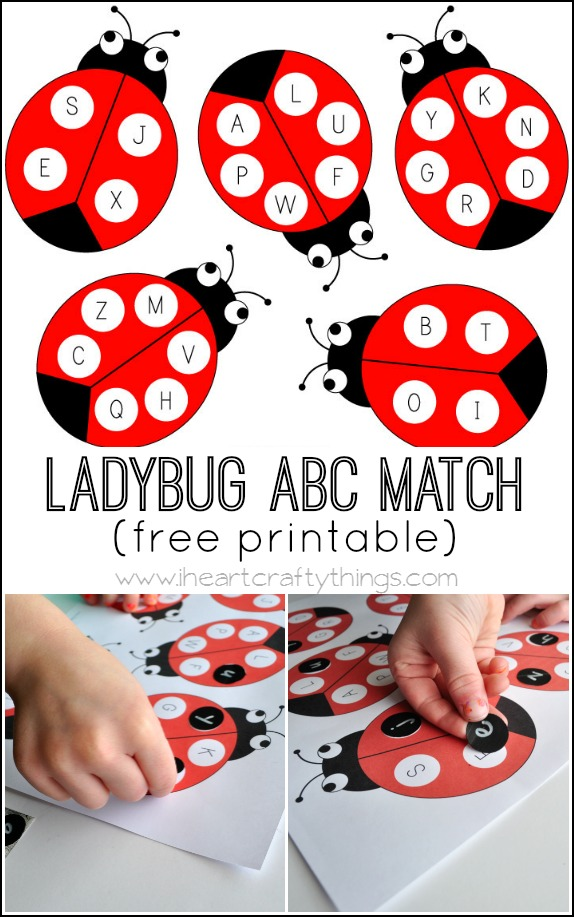 photograph about Alphabet Matching Game Printable called Ladybug Alphabet Recreation Video game (with totally free printable)