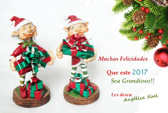 Duendes navideños en porcelana fría, con regalos y saludos navideños