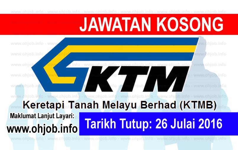 Jawatan Kerja Kosong Keretapi Tanah Melayu Berhad (KTMB) logo www.ohjob.info julai 2016