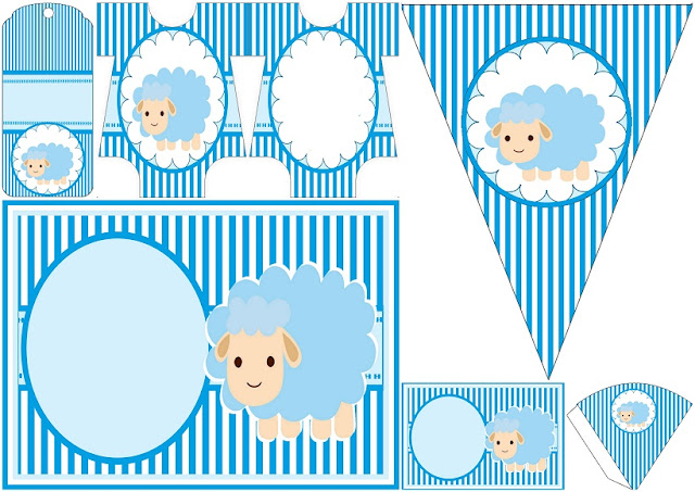 Cute Sheep for Boy Baby Party: Free Printable Invitations and Free Party Printables.