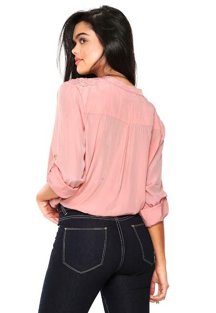 Camisa HELI Bordada Rosa