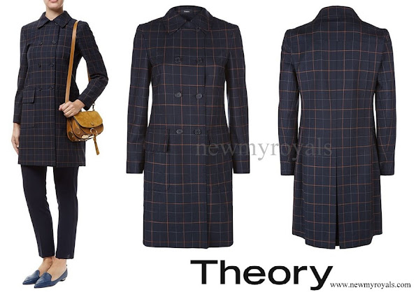 Princess Marie wore Theory Abla Check Double Breasted Coat