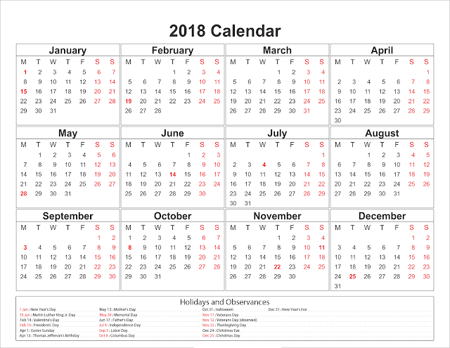 Blank Calendar 2018, Printable Calendar 2018