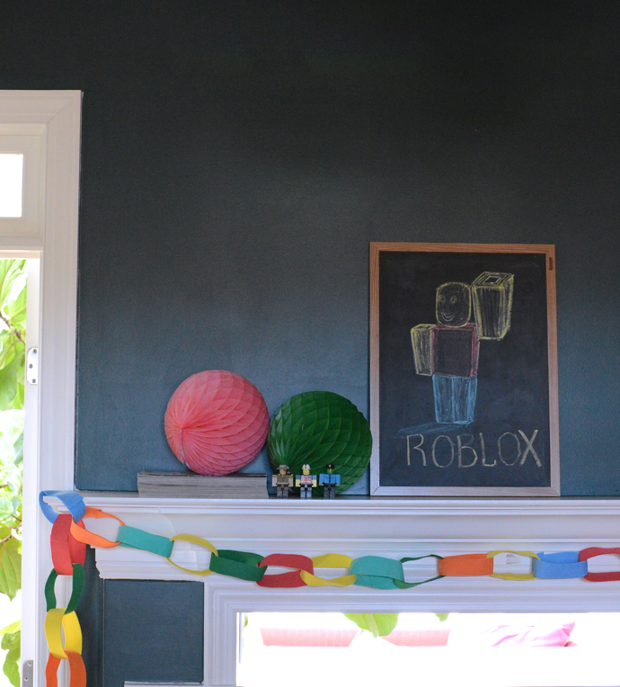Mantel decorated for Roblox birthday party-design addict mom