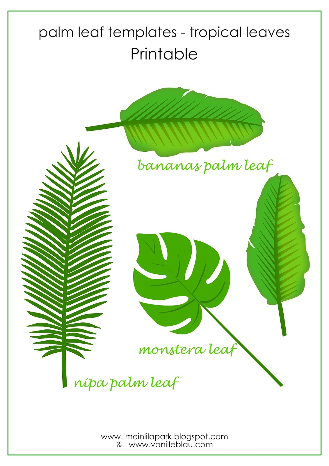 picture about Palm Leaf Printable called Free of charge printable tropical leaf website page marker - Lesezeichen