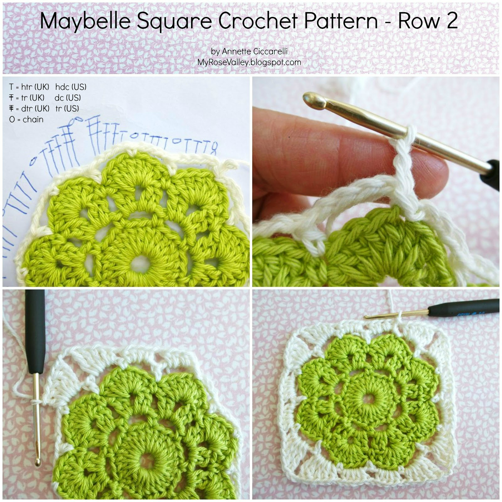 My Rose Valley Maybelle Square Crochet Pattern Flower Diagram Row 2 This Is Worked Into The Chain Spaces Slip Stitch First Space Make Ch2 Counts As Htr Hdc 3htr 3hdc A Total Of 4htr In