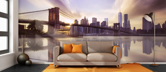 tapet new york brooklyn bridge fototapet vardagsrum stad