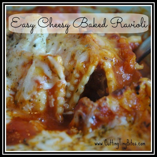 Easy Cheesy Baked Ravioli.  Great weekday supper idea, sure to pleae kids and adults!