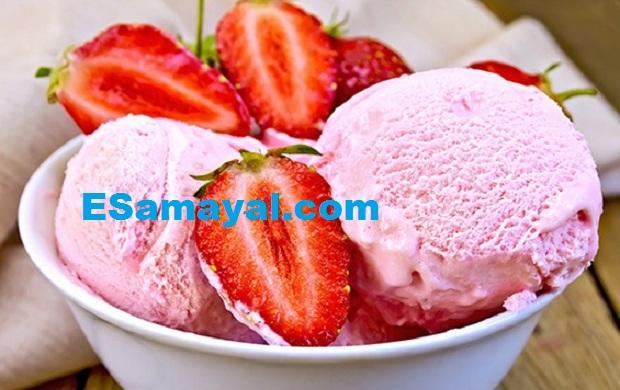 ஸ்ட்ராபெர்ரி ஐஸ்கிரீம் செய்முறை   Strawberry Ice Cream Recipe !