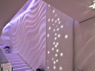 3d gypsum wall art panels with lighting on staircase