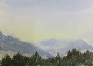 Water colour painting, a study work of an early morning view at Temi Tea Garden, South Sikkim