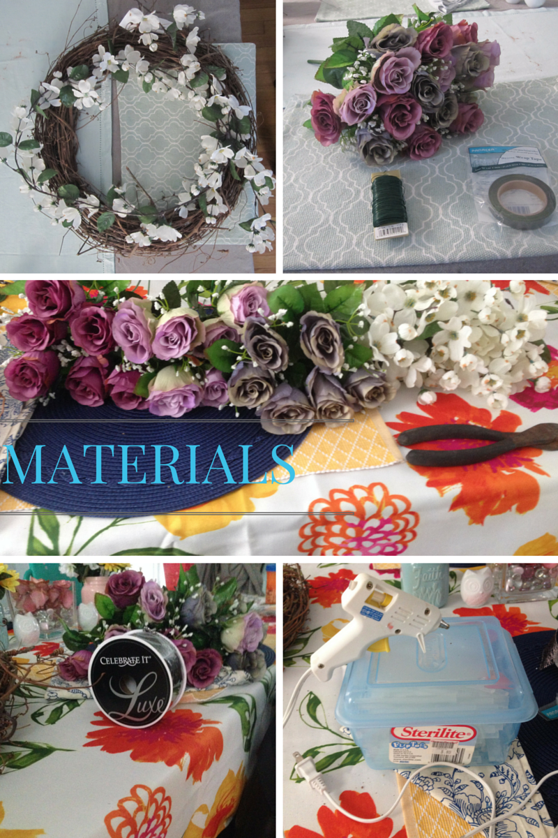 Materials for DIY floral wreath