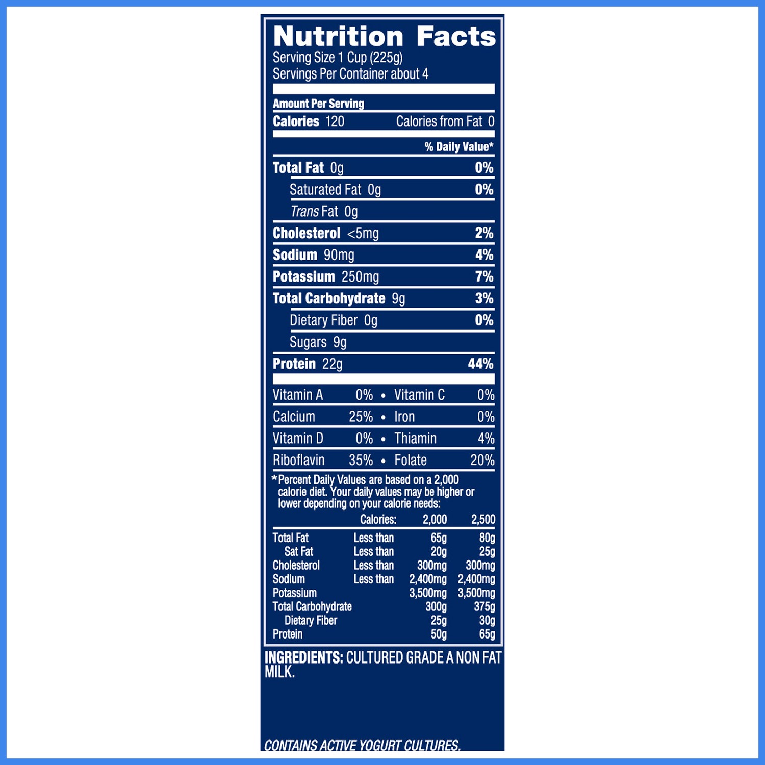 Oikos Plain Greek Yogurt Nutrition Facts