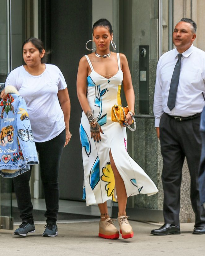 Rihanna wears plunging summer dress out and about in NYC