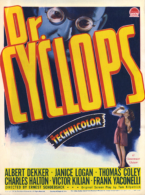 Dr. Cyclops - Vintage Movie Poster Sci-Fi Horror, classic posters, free download, free posters, free printable, graphic design, horror movie poster, movies, printables, retro prints, sci-fi movie poster, theater, vintage, vintage posters, vintage printables