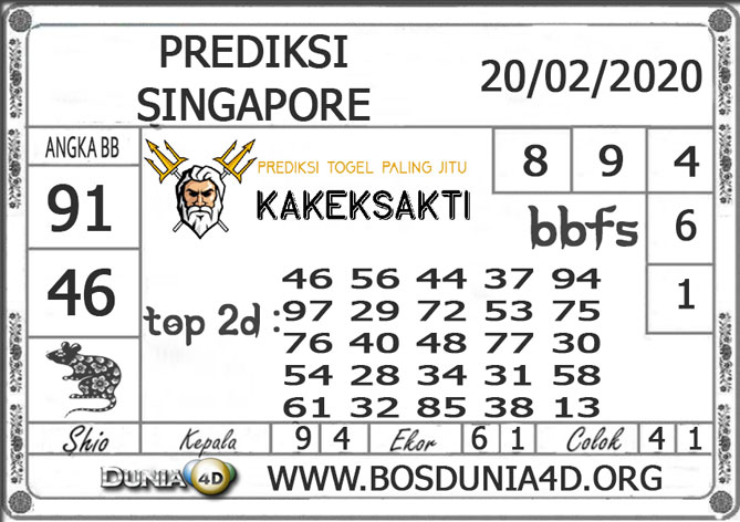 PREDIKSI TOGEL SINGAPORE DUNIA4D 20 FEBRUARI 2020