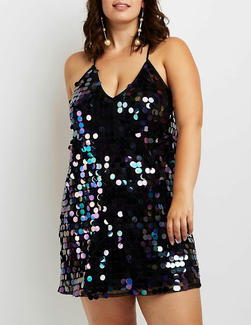 Plus-size-sequence-par-sleeve-less-dress