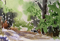 water colour study work of a scene from Karnala Bird Sanctuary by Manju Panchal
