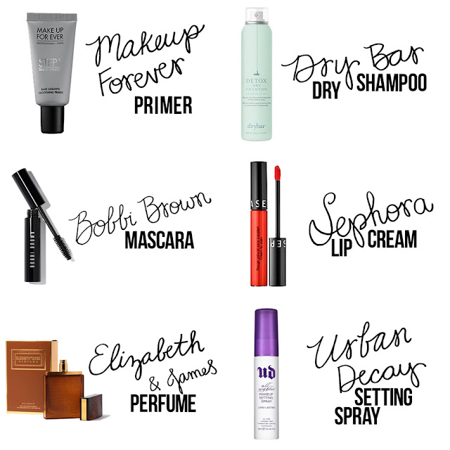 Makeup Forever Primer, Dry Bar Dry Shampoo, Bobbi Brown Mascara, Sephora Lip Cream, Elizabeth and James Perfume, Urban Decay Setting Spray, Beauty Blogger, College Blogger, Lifestyle Blogger